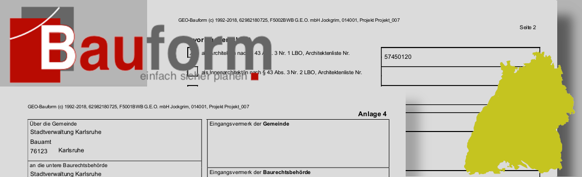 Bauantragsformulare für Baden-Württemberg