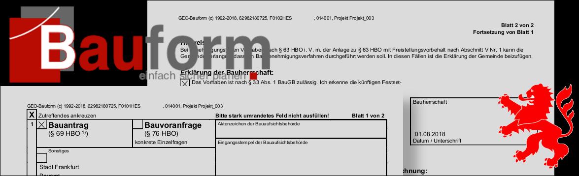 Bauantragsformulare für Hessen