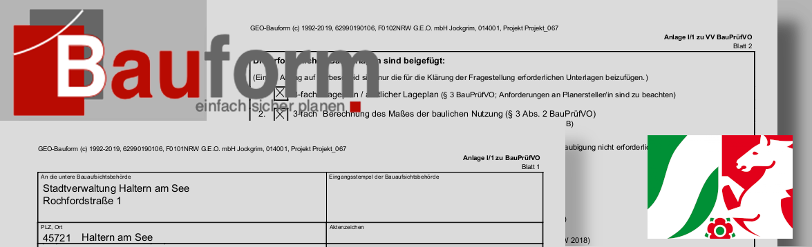 Bauantragsformulare für NRW